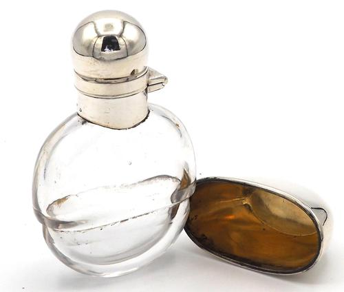 Small Victorian Silver Mounted Glass Hip Flask - 1892 (1 of 6)