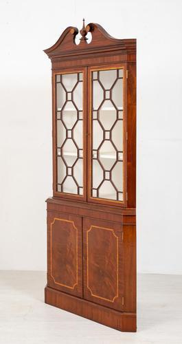 Mahogany Sheraton Revival Double Corner Cupboard (1 of 8)
