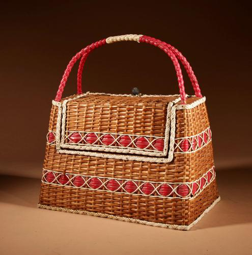 Art Deco Very Stylish Woven Wicker Willow Bag (1 of 7)