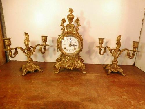 Lancini Franz Hermle clock with candelabras garnitures exactly like Imperial range (1 of 6)