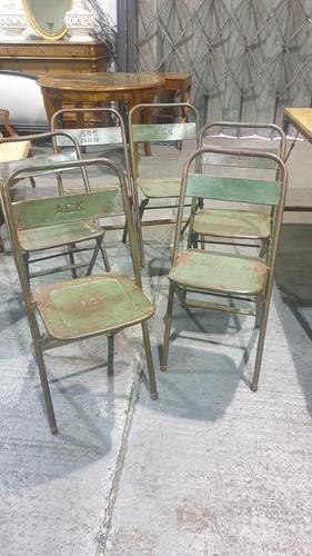 Six Metal Folding Dining Chairs (1 of 6)