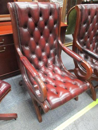 Chesterfield Red Leather Slipper Chair (1 of 4)