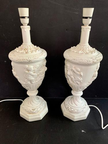 Pair of Plaster Moulded Lamps c.1930 (1 of 5)