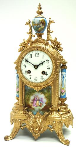 Wow! French Blue Sevres Mantel Clock 8 Day Striking Mantle Clock (1 of 12)