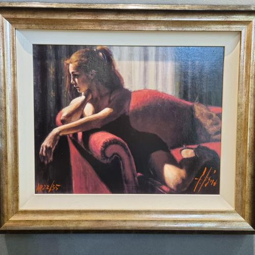 """Fabian Perez Hand Embellished Limited Edition Artists Proof Print """"rojo Sillon III"""" with Certificate of Authenticity (1 of 10)"""