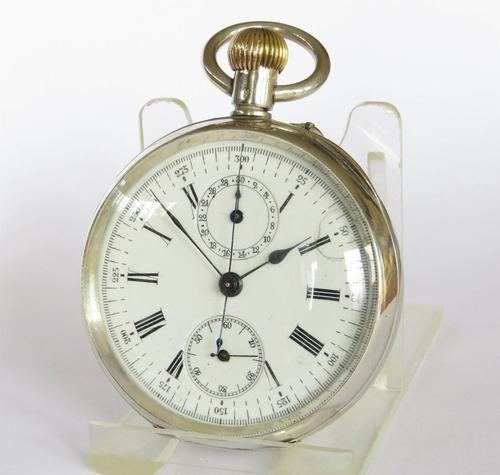 Antique Didisheim Silver Chronograph Pocket Watch c 1900 (1 of 5)