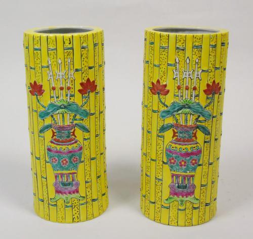 Good Pair of Chinese Tongzhi Period Bamboo Vases (1 of 9)