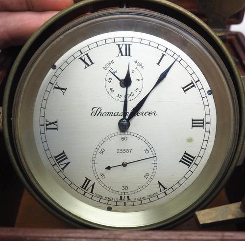 Original Thomas Mercer 2-day Marine Chronometer Ships Clock– Chain Fusee Earnshaws Detent Escapement Box & Key (1 of 14)