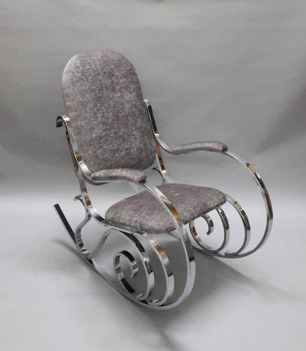 French Mid-Century Chrome Rocking Chair by Maison Jansen (1 of 7)