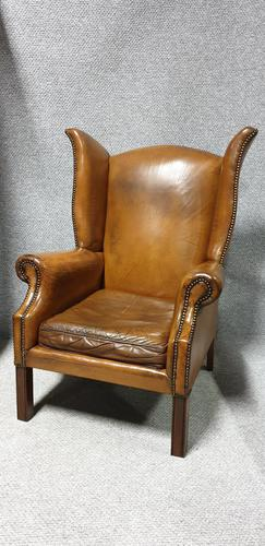 Superb Tan Leather Winged Armchair (1 of 8)