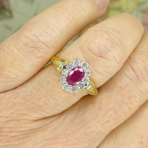 Vintage 18ct gold oval ruby & diamond cluster ring ~ Valentine proposal (1 of 10)