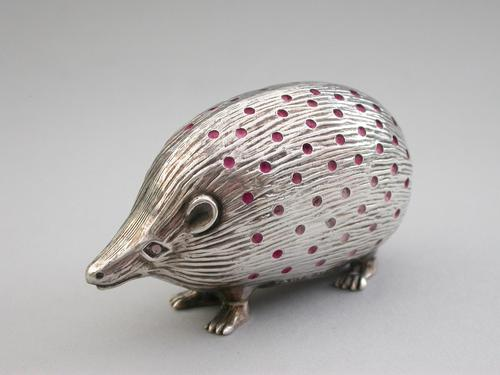Edwardian Novelty Silver Hedgehog Pin Cushion by Sydney & Co, Birmingham, 1906 (1 of 12)