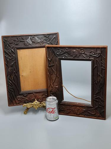 Fabulous Large Pair of Aesthetic Movement Oak Picture or Mirror Frames,Bats & Birds in Reeds c.1900 (1 of 8)