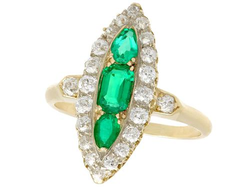 0.92ct Emerald & 1.38ct Diamond, 15ct Yellow Gold Marquise Ring - Antique c.1910 (1 of 9)