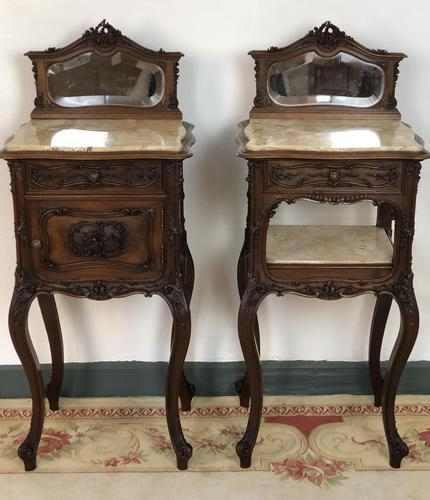 Antique French Walnut Bedside Cabinets Marble Tops & Mirrors Pot Cupboards (1 of 16)