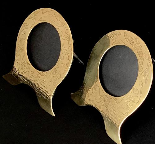 Pair of Brass Art Nouveau Easel Photo Frames (1 of 4)
