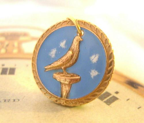Vintage Pocket Watch Chain Fob 1940s Rose Gilt & Enamel Racing Pigeon Fob Nos (1 of 7)