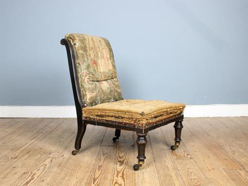 19th Century Victorian Ebonised Slipper Chair (1 of 7)