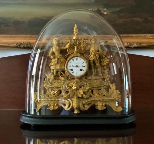 Large Superb Original 19th Century Glass Domed Gilt Mantle Clock For Minor Tlc (1 of 14)