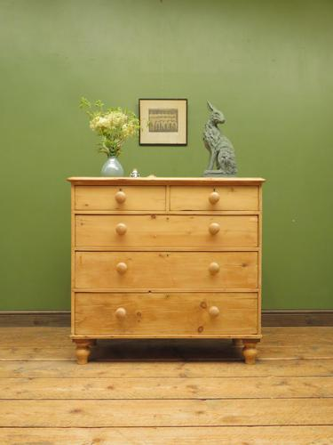Antique Victorian Stripped Pine Chest of Drawers, Rustic Farmhouse Cottage Chest (1 of 16)