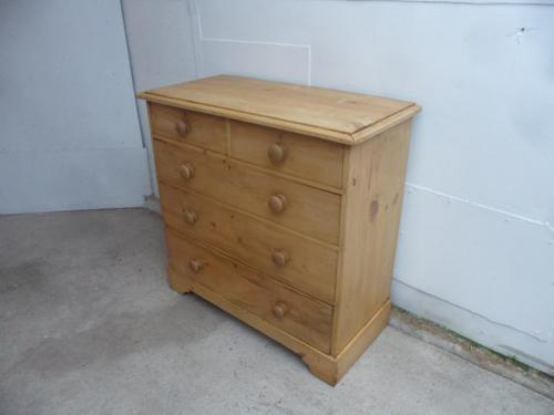 Lovely Waxed Victorian Antique Pine 5 Drawer Chest of Drawers (1 of 8)