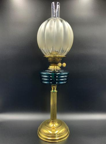 Lovely Tall 19thc Twin Burning Royal Blue Glass & Brass Table Oil Lamp (1 of 11)