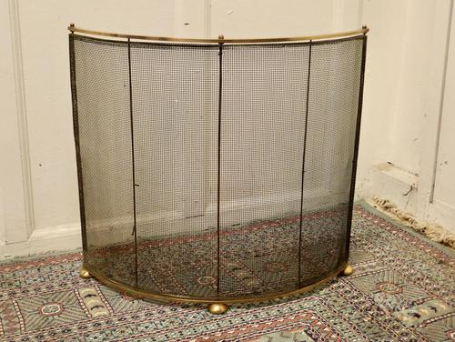 Victorian Arts & Crafts Brass Curved Fire Guard, Spark Screen (1 of 5)