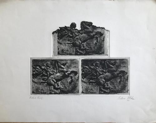 Original Etching '3 Etchings of an Antique Relief Carving' by Bettina McMahon 1972. Australian. B. 1930 (1 of 2)