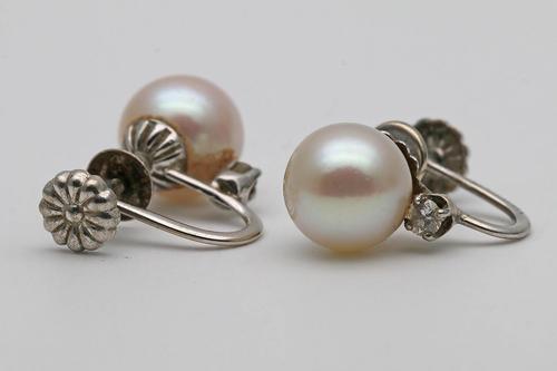 Edwardian White Gold Pearl & Diamond Earrings (1 of 2)