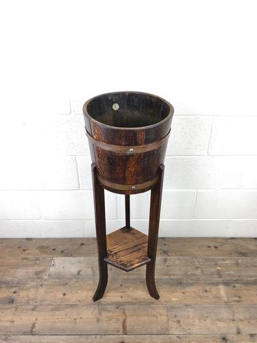Antique Oak Coopered Jardinière Stand by Lister & Co (1 of 7)