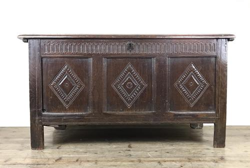 Antique 18th Century Oak Coffer With Carved Front (1 of 16)