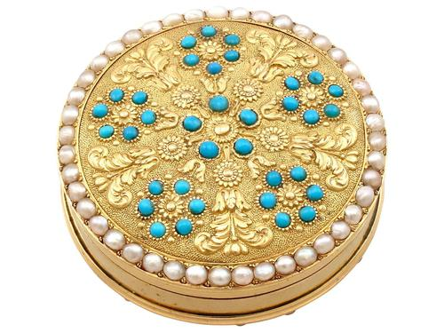 12ct Yellow Gold, Pearl & Turquoise Pill Box - Antique c.1815 (1 of 9)