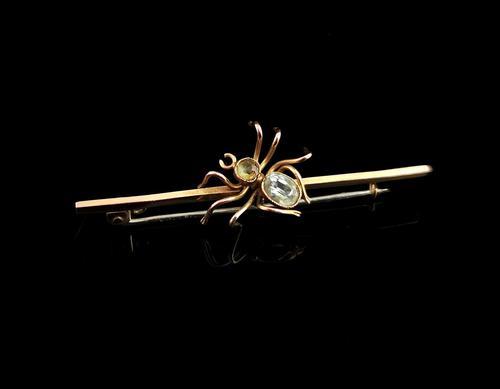 Antique Edwardian Spider Brooch, 9ct Gold (1 of 9)