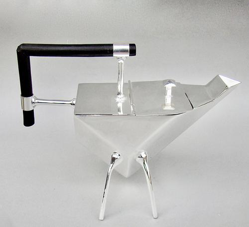 Mid-Century Christopher Dresser Style Silver Plated Angular Teapot c.1960 (1 of 8)