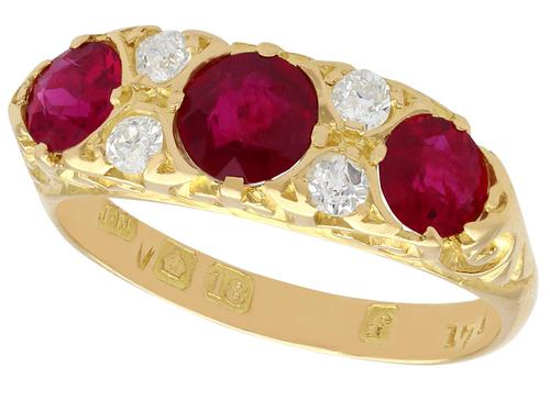 1.85ct Ruby & 0.20ct Diamond, 18ct Yellow Gold Dress Ring - 1923 (1 of 9)