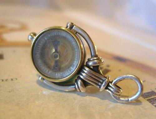 Antique Pocket Watch Chain Silver Compass Fob 1890s Victorian Working Drum Case Fob (1 of 10)