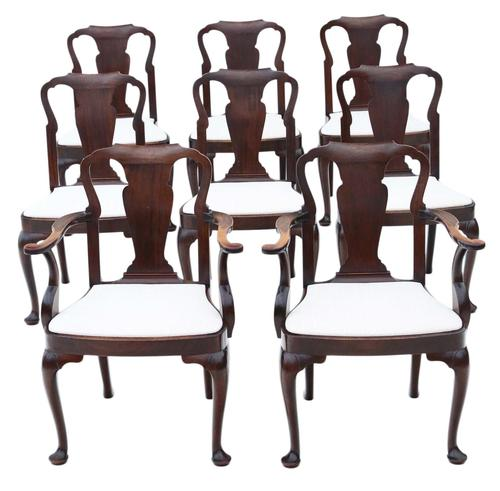 Set of 8 Mahogany Dining Chairs Queen Anne revival c.1910 (1 of 11)