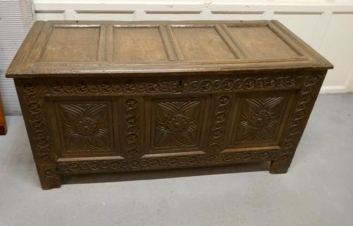 Large 18th Century Carved Oak Coffer (1 of 8)