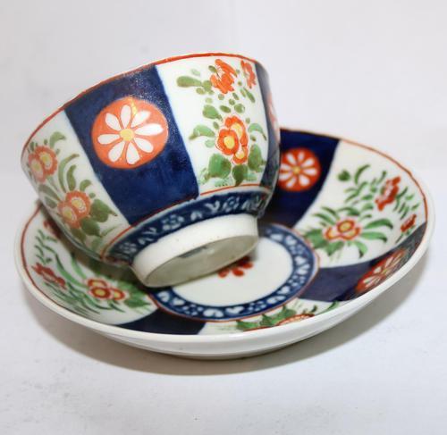 A Porcelain 1st Period Worcester Queen's Imari Tea Bowl & Saucer C.1770 (1 of 7)