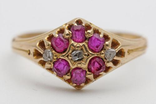 Early 20th Century Gold Dress Ring with Diamonds & Rubies (1 of 3)