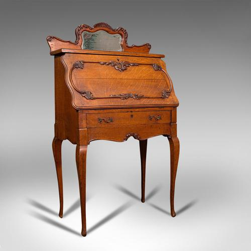Small Antique Ladies Writing Desk, French, Oak, Bureau, Mirror, Victorian c.1900 (1 of 12)