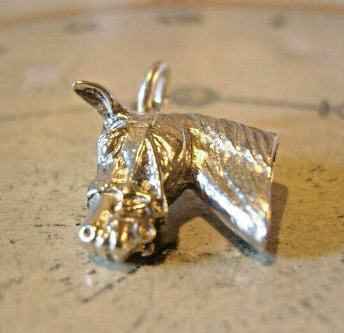 Vintage Pocket Watch Chain Silver Horse Fob 1970 Solid Silver Equestrian Fob (1 of 8)