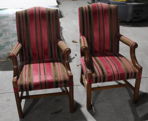 1900s Pair of Mahogany Club Armchairs with Red Stripe Seats (1 of 3)