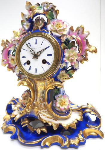 Antique 8 Day Porcelain Mantel Clock Sevres Blue Floral French Mantle Clock (1 of 6)