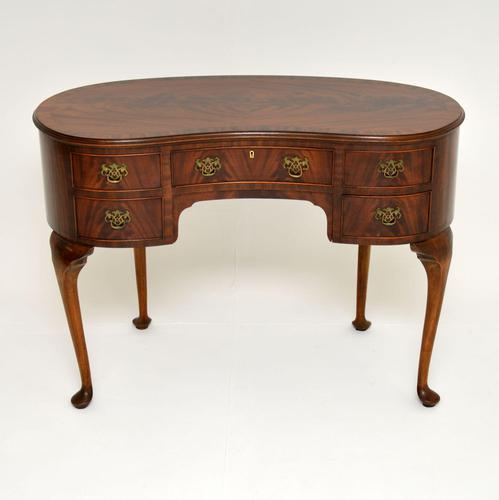 Antique Queen Anne Style Mahogany Kidney Desk / Dressing Table (1 of 11)