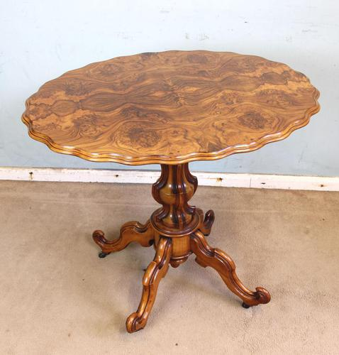 Antique Burr Walnut Shaped Occasional Table (1 of 9)