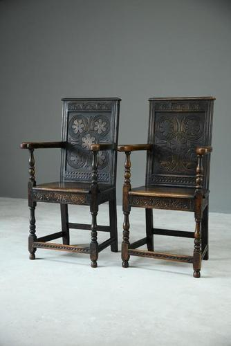 Pair of 17th Century Style Oak Armchairs (1 of 9)