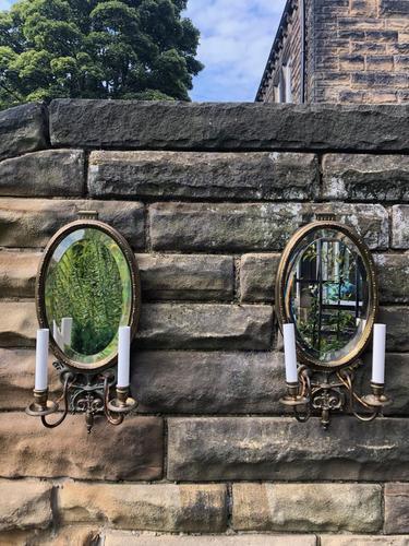 Pair of English Gilt Bronze Mirrored Wall Lights (1 of 8)