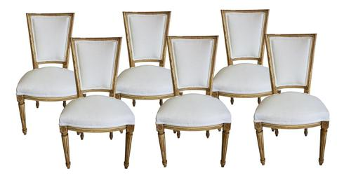 Set of Six Louis XVI Style Painted Dining Chairs in Antique Linen (1 of 1)