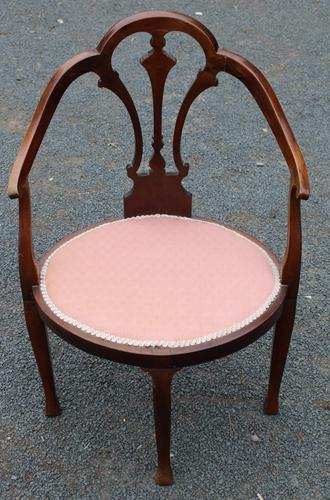 1920s Mahogany Corner Chair in Pink (1 of 3)